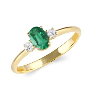 EMERALD RING WITH DIAMONDS - ENGAGEMENT GEMSTONE RINGS - ENGAGEMENT RINGS