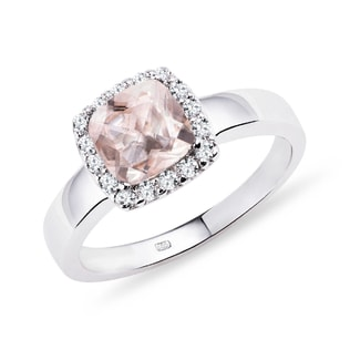 RING WITH DIAMONDS AND MORGANITE - ENGAGEMENT HALO RINGS - ENGAGEMENT RINGS