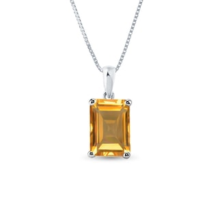 CITRINE 14KT GOLD PENDANT - WHITE GOLD PENDANTS - PENDANTS