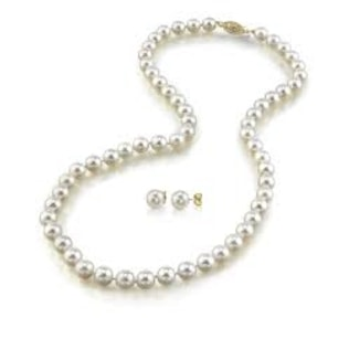 PEARL NECKLACE AND EARRINGS IN 14KT GOLD - PEARL SETS - PEARL JEWELRY
