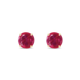 GOLD EARRINGS WITH RUBY ​​STONES - RUBY EARRINGS - EARRINGS