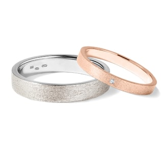 WEDDING RINGS OF ROSE AND WHITE GOLD - COMBINED RINGS - WEDDING RINGS