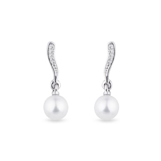 PEARL AND DIAMOND EARRINGS IN 14KT GOLD - PEARL EARRINGS - PEARL JEWELLERY