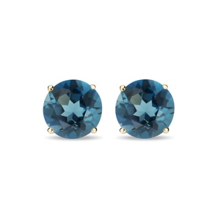 BLUE TOPAZ EARRINGS IN 14KT GOLD - TOPAZ EARRINGS - EARRINGS
