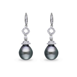 TAHITIAN PEARL AND DIAMOND EARRINGS IN 14KT WHITE GOLD - PEARL EARRINGS - PEARL JEWELRY