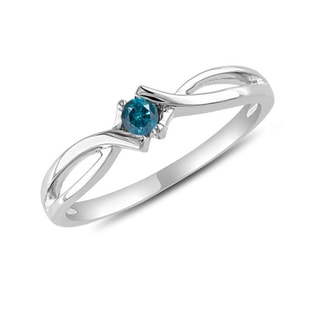 BLUE DIAMOND RING IN 14KT GOLD - WHITE GOLD RINGS - RINGS