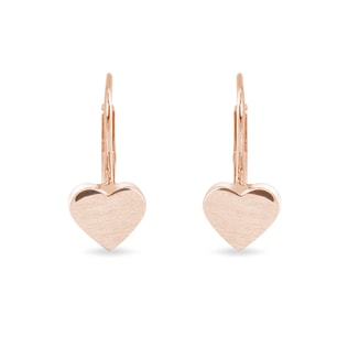 HEART-SHAPED EARRINGS IN MATTE ROSE GOLD - ROSE GOLD EARRINGS - EARRINGS