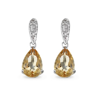 CITRINE AND DIAMOND EARRINGS IN 14KT GOLD - CITRINE QUARTZ EARRINGS - EARRINGS