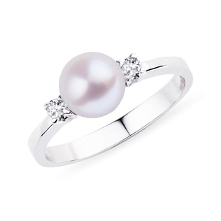 PEARL AND DIAMOND RING IN 14KT WHITE GOLD - PEARL RINGS - PEARL JEWELRY