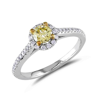 DIAMOND ENGAGEMENT RING IN 14KT GOLD - FANCY DIAMOND ENGAGEMENT RINGS - ENGAGEMENT RINGS