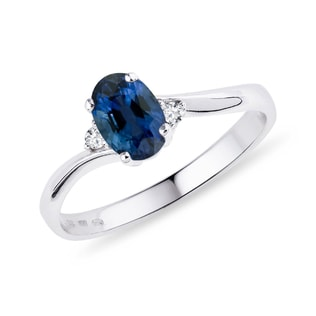 SAPPHIRE AND DIAMOND RING IN STERLING SILVER - ENGAGEMENT GEMSTONE RINGS - ENGAGEMENT RINGS