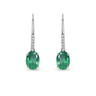 WHITE GOLD EARRINGS WITH EMERALD AND DIAMONDS - EMERALD EARRINGS - EARRINGS