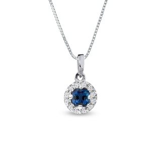 DIAMOND NECKLACE WITH A SAPPHIRE IN WHITE GOLD - DIAMOND PENDANTS - PENDANTS
