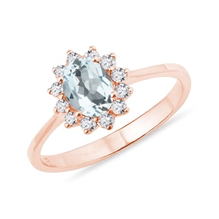 AQUAMARINE AND DIAMOND RING IN 14KT ROSE GOLD - ENGAGEMENT HALO RINGS - ENGAGEMENT RINGS
