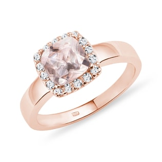 MORGANITE AND DIAMOND RING IN 14KT ROSE GOLD - ENGAGEMENT HALO RINGS - ENGAGEMENT RINGS