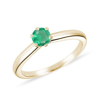 EMERALD 14KT GOLD RING - EMERALD RINGS - RINGS