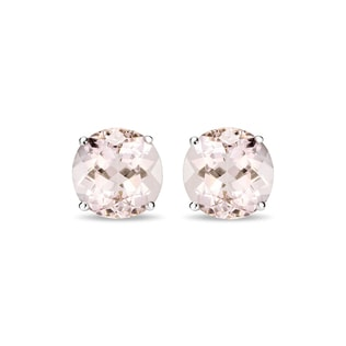 MORGANITE STUD EARRINGS IN 14KT GOLD - WHITE GOLD EARRINGS - EARRINGS