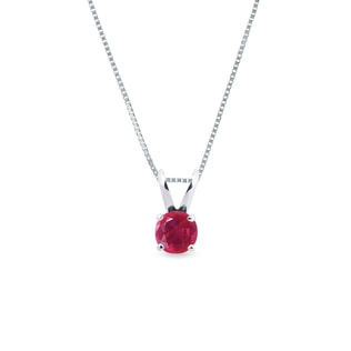 GOLD NECKLACE WITH RUBY - RUBY PENDANTS - PENDANTS