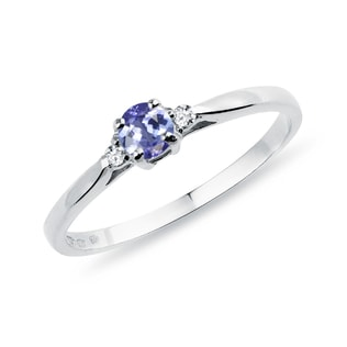 RING WITH TANZANITE AND DIAMONDS - TANZANITE RINGS - RINGS