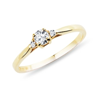 GOLD ENGAGEMENT RING WITH DIAMONDS - ENGAGEMENT DIAMOND RINGS - ENGAGEMENT RINGS