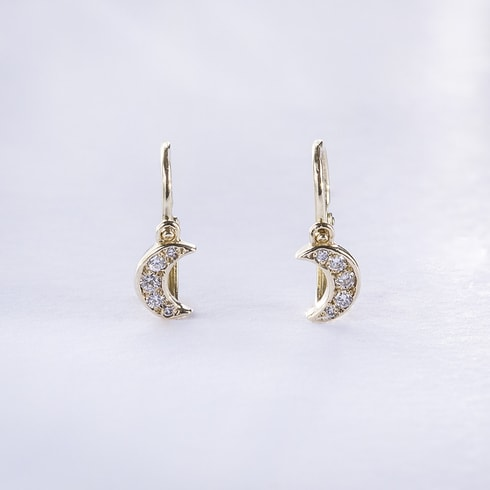 Baby CZ moon earrings in 14kt gold - Fine Jewellery