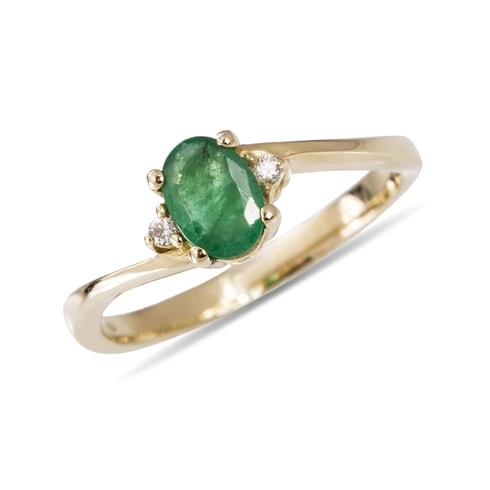 Emerald and diamond ring in 14kt gold - Engagement Gemstone Rings