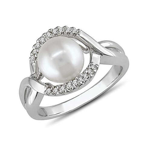 Sterling silver ring with pearl and diamonds - Pearl rings