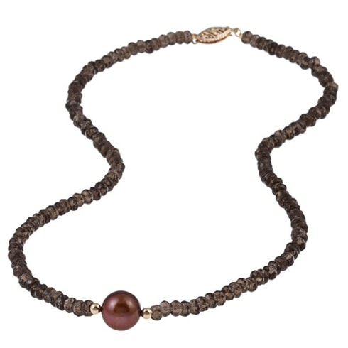 NECKLACE WITH SMOKY QUARTZ AND PEARL - JEWELLERY SALE