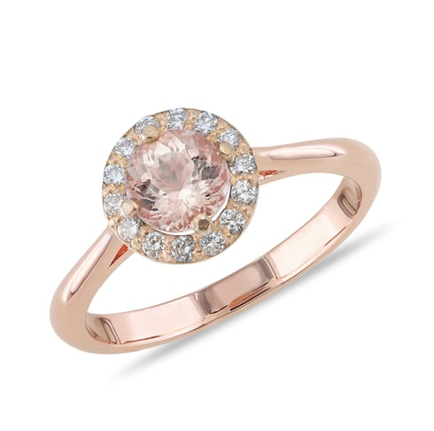Morganite and diamond ring in rose gold - Engagement Halo Rings