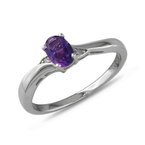 Amethyst and diamond sterling silver ring - Amethyst Rings