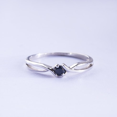 Gold ring with black diamond - Rings