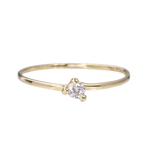 Gold engagement ring with a diamond - Gold rings