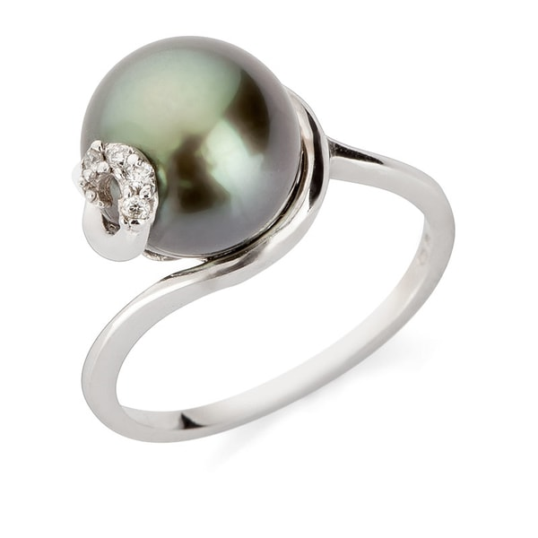 GOLD RING WITH TAHITIAN PEARL - WHITE GOLD RINGS - RINGS