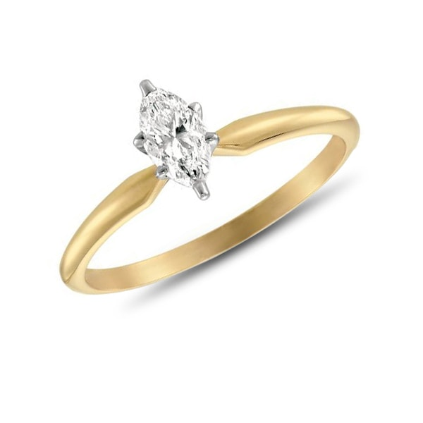 Golden engagement ring with diamond - Gold rings