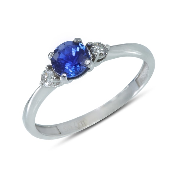 Gold ring with sapphire and diamonds - Sapphire Rings