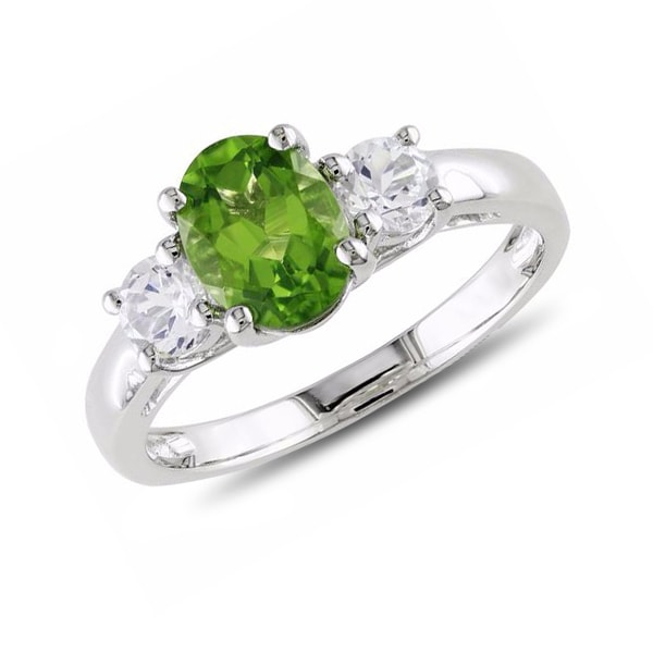STERLING SILVER RING WITH PERIDOT AND SYNTHETIC SAPPHIRES - PERIDOT RINGS - RINGS