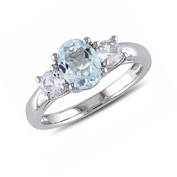 Aquamarine ring with white sapphires, sterling silver - Aquamarine Rings