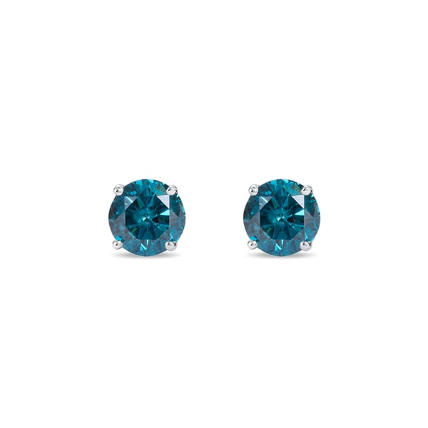 Blue diamond earrings in silver - Stud Earrings