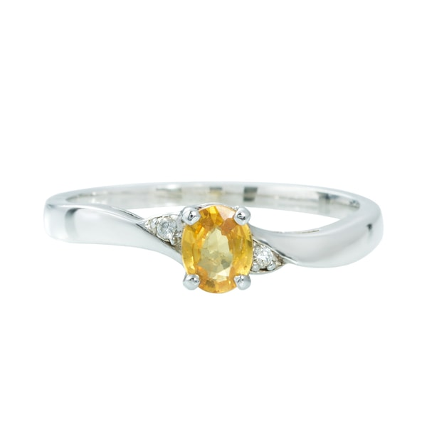 STERLING SILVER RING WITH YELLOW SAPPHIRE - SAPPHIRE RINGS - RINGS