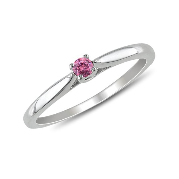 Sterling silver ring with a pink diamond - Sterling silver rings
