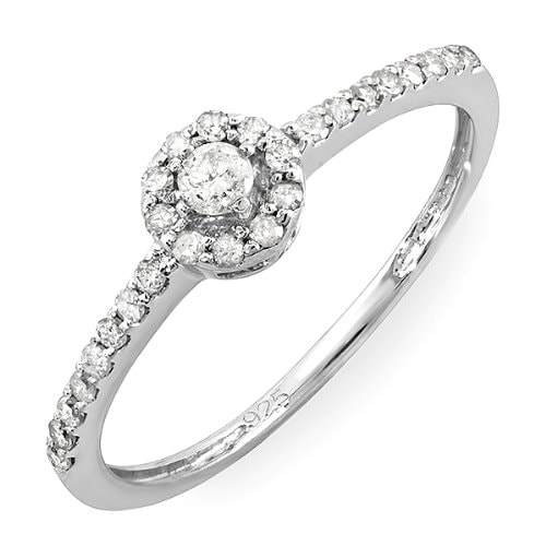 STERLING SILVER DIAMOND ENGAGEMENT RING - STERLING SILVER RINGS - RINGS