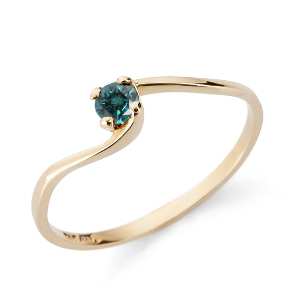 Blue diamond engagement ring in 14kt gold - Diamond Rings