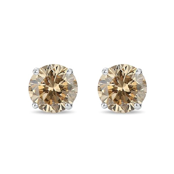 Gold earrings with champagne diamonds 0.1ct - Diamond earrings