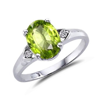 Ring with peridot and diamonds - Peridot Rings
