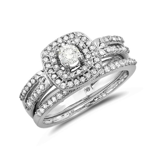 Engagement and wedding ring set in 14kt white gold - White Gold Rings