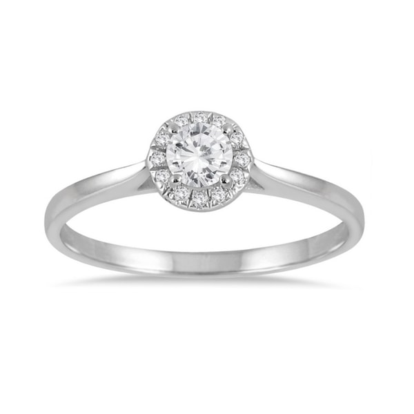 Diamond engagement ring in white gold - White gold rings