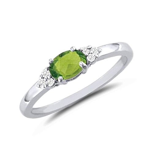 GOLDEN RING WITH PERIDOT AND DIAMONDS - PERIDOT RINGS - RINGS