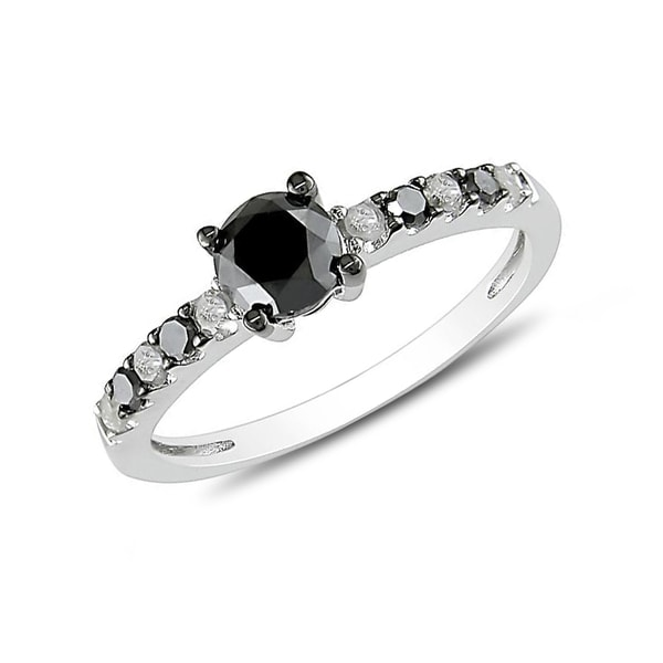 SILVER RING WITH BLACK AND WHITE DIAMONDS - DIAMOND RINGS - RINGS