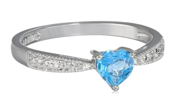 Ring with blue topaz and diamonds - Topaz rings