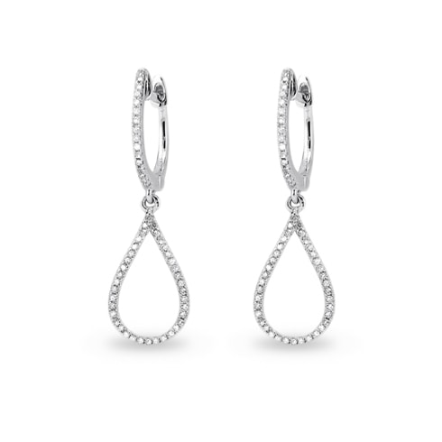 Diamond teardrop earrings in white gold - Diamond earrings